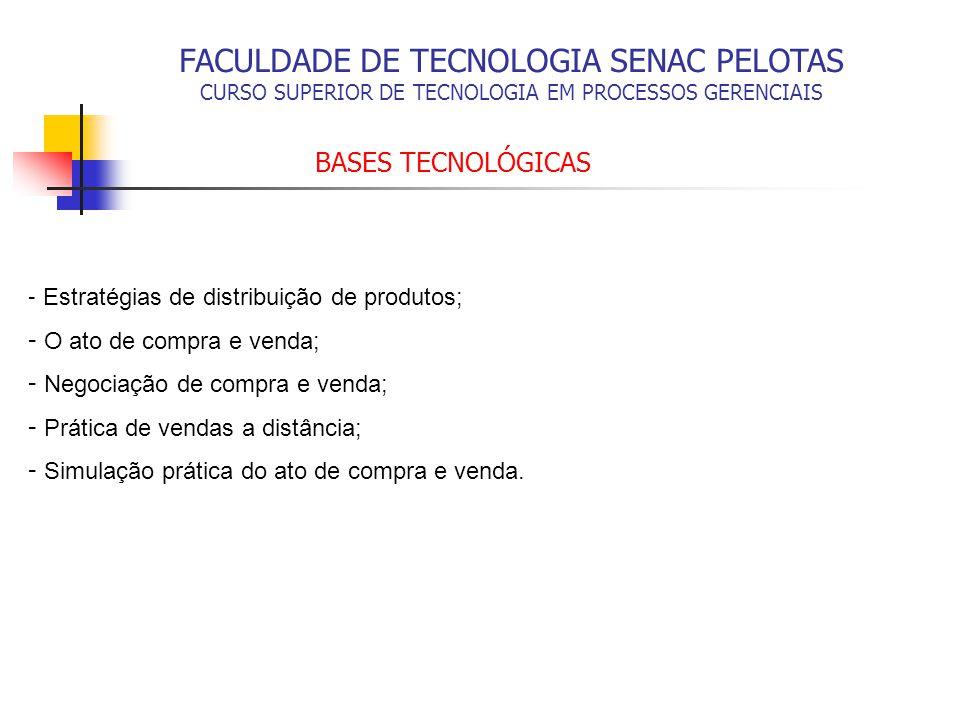 FACULDADE DE TECNOLOGIA SENAC PELOTAS CURSO SUPERIOR DE TECNOLOGIA EM PROCESSOS GERENCIAIS BASES TECNOLÓGICAS - Estratégias de distribuição de produto