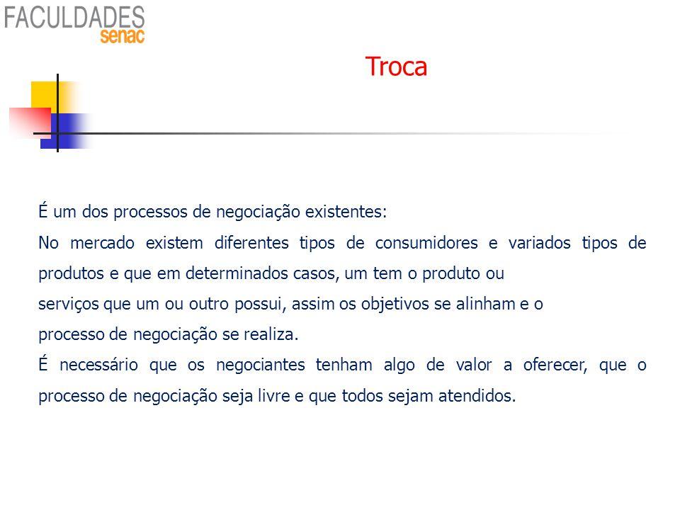 Troca É um dos processos de negociação existentes: No mercado existem diferentes tipos de consumidores e variados tipos de produtos e que em determina
