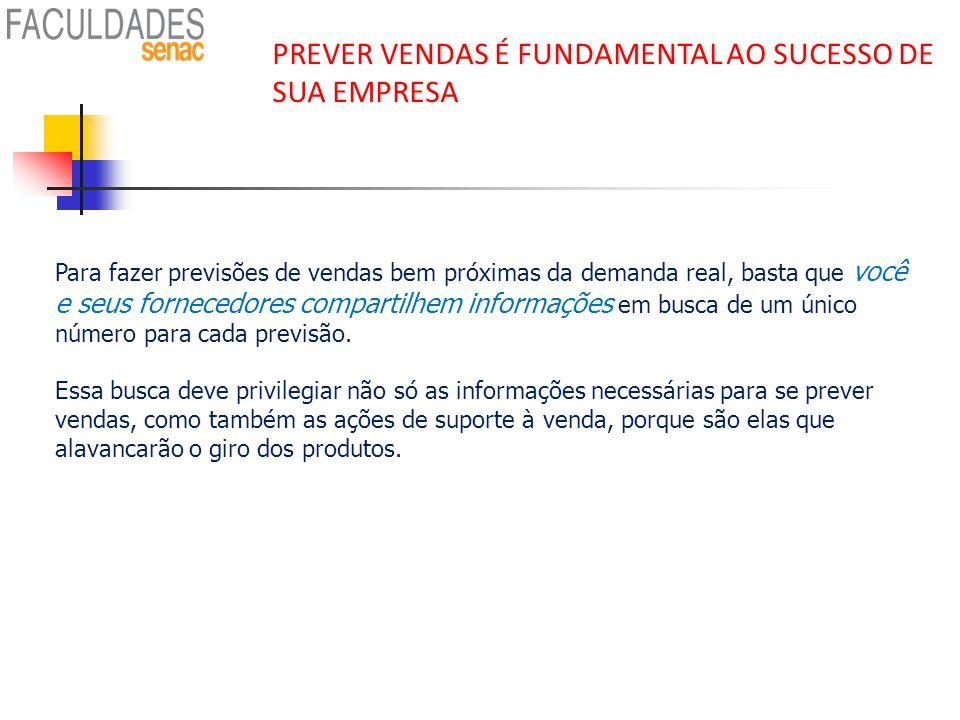 PREVER VENDAS É FUNDAMENTAL AO SUCESSO DE SUA EMPRESA Para fazer previsões de vendas bem próximas da demanda real, basta que você e seus fornecedores