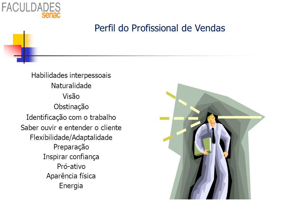 Perfil do Profissional de Vendas Habilidades interpessoais Naturalidade Visão Obstinação Identificação com o trabalho Saber ouvir e entender o cliente