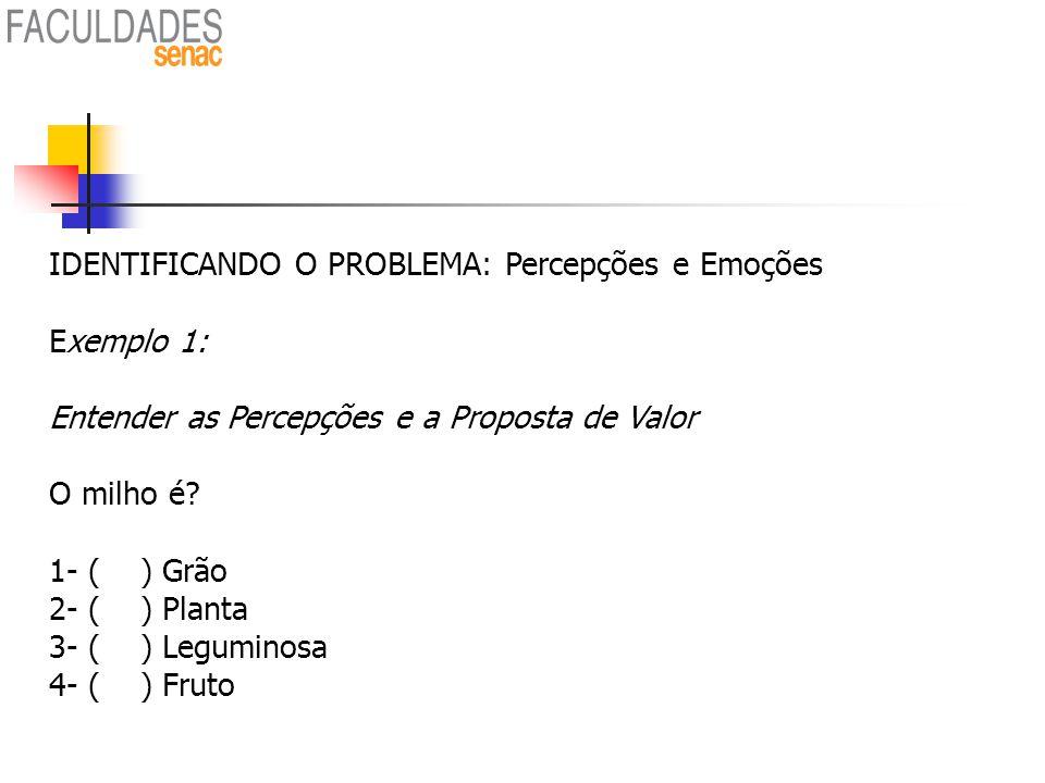 84 IDENTIFICANDO O PROBLEMA: Percepções e Emoções Exemplo 1: Entender as Percepções e a Proposta de Valor O milho é? 1- ( ) Grão 2- ( ) Planta 3- ( )