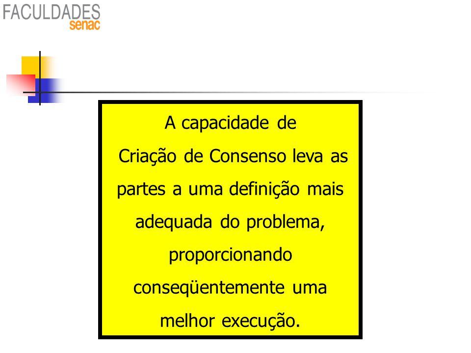 86 A capacidade de Criação de Consenso leva as partes a uma definição mais adequada do problema, proporcionando conseqüentemente uma melhor execução.
