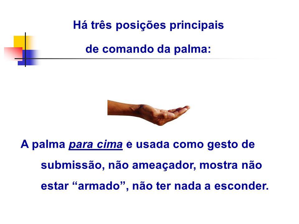 """Há três posições principais de comando da palma: A palma para cima é usada como gesto de submissão, não ameaçador, mostra não estar """"armado"""", não ter"""