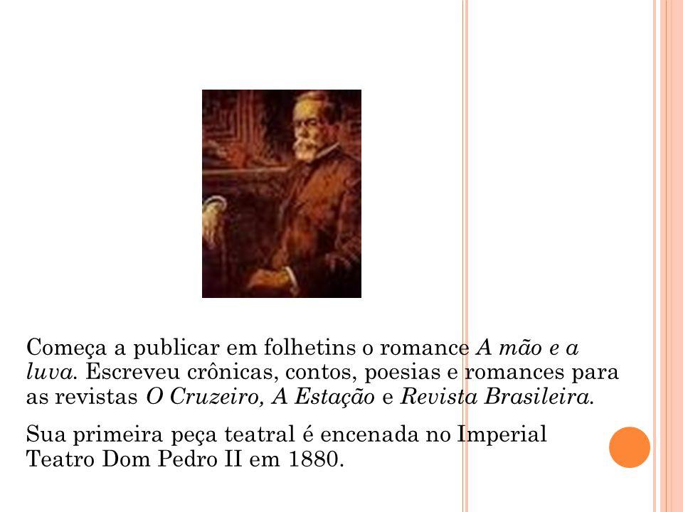 Começa a publicar em folhetins o romance A mão e a luva. Escreveu crônicas, contos, poesias e romances para as revistas O Cruzeiro, A Estação e Revist