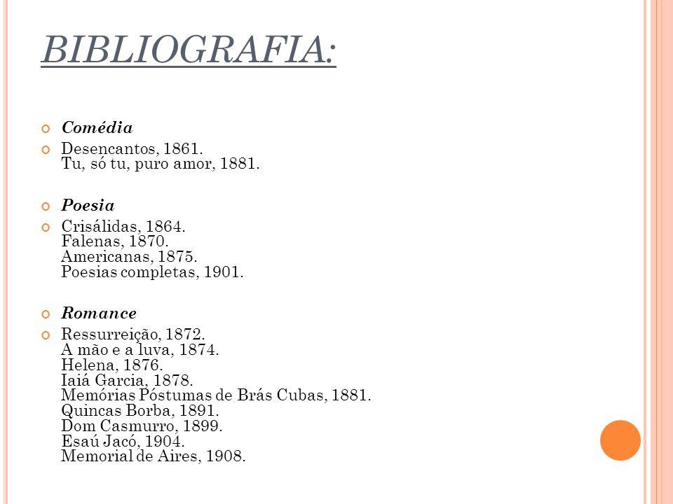 BIBLIOGRAFIA: Comédia Desencantos, 1861. Tu, só tu, puro amor, 1881. Poesia Crisálidas, 1864. Falenas, 1870. Americanas, 1875. Poesias completas, 1901