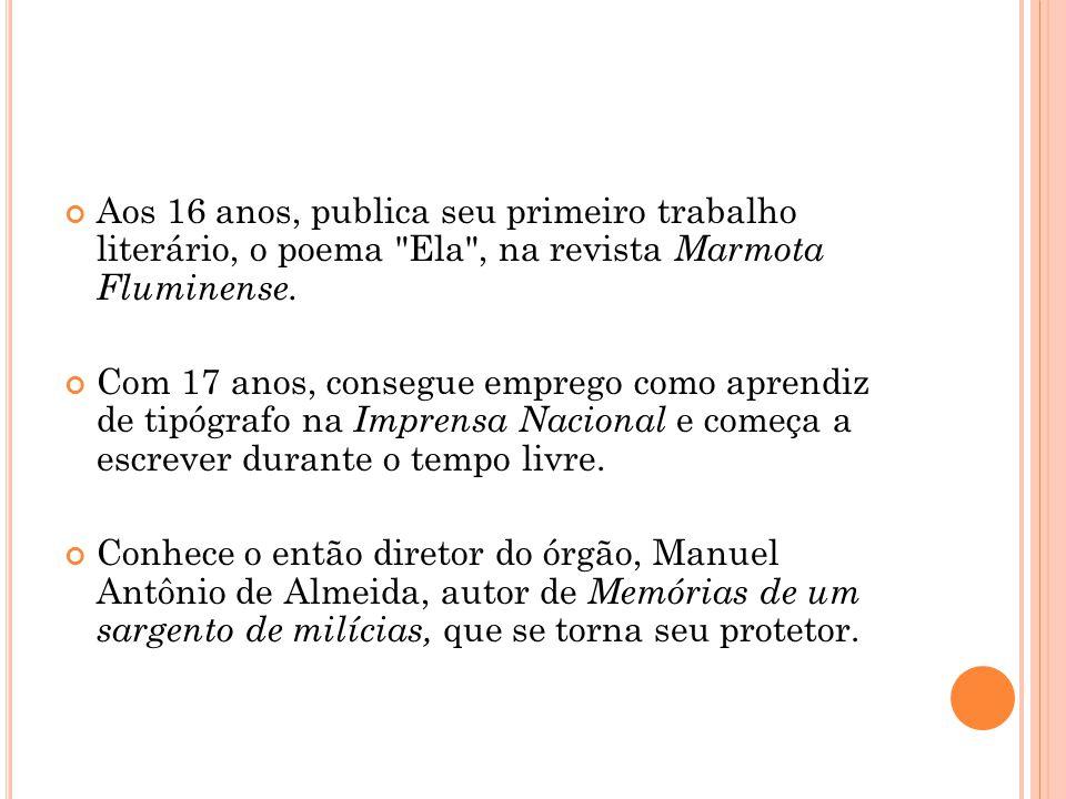 Começa a publicar obras românticas e, em 1859, era revisor e colaborava com o jornal Correio Mercantil, dentre outros.