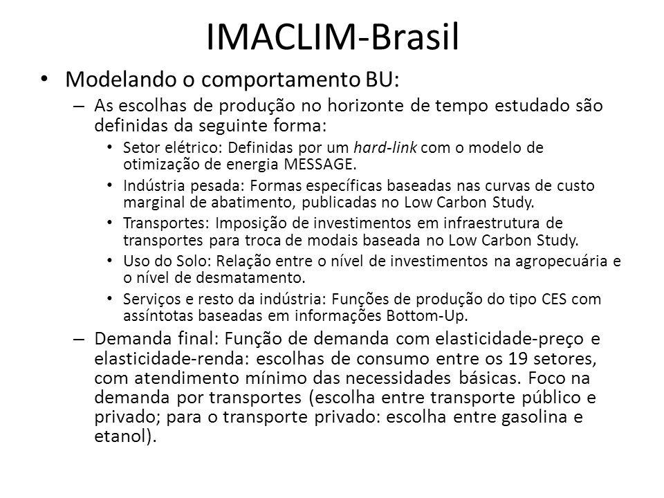 IMACLIM-Brasil • Modelando o comportamento BU: – As escolhas de produção no horizonte de tempo estudado são definidas da seguinte forma: • Setor elétrico: Definidas por um hard-link com o modelo de otimização de energia MESSAGE.
