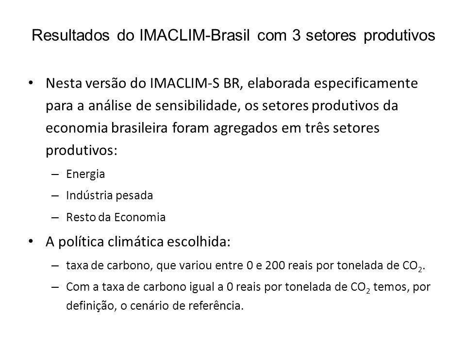 Resultados do IMACLIM-Brasil com 3 setores produtivos • Nesta versão do IMACLIM-S BR, elaborada especificamente para a análise de sensibilidade, os setores produtivos da economia brasileira foram agregados em três setores produtivos: – Energia – Indústria pesada – Resto da Economia • A política climática escolhida: – taxa de carbono, que variou entre 0 e 200 reais por tonelada de CO 2.