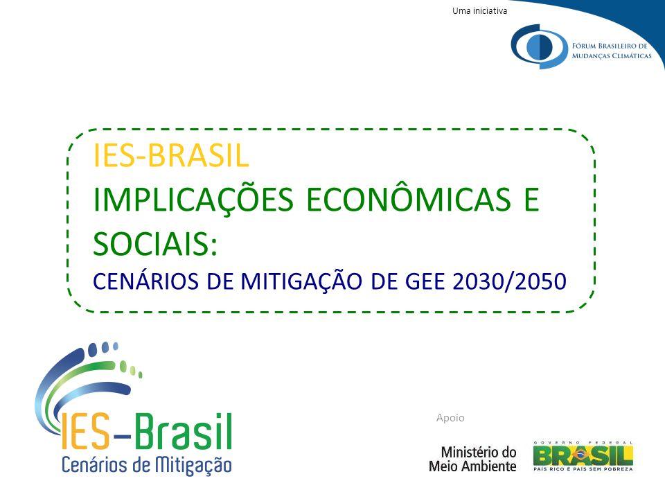 Uma iniciativa Apoio IES-BRASIL IMPLICAÇÕES ECONÔMICAS E SOCIAIS: CENÁRIOS DE MITIGAÇÃO DE GEE 2030/2050