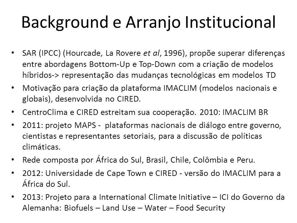 Background e Arranjo Institucional • SAR (IPCC) (Hourcade, La Rovere et al, 1996), propõe superar diferenças entre abordagens Bottom-Up e Top-Down com a criação de modelos híbridos-> representação das mudanças tecnológicas em modelos TD • Motivação para criação da plataforma IMACLIM (modelos nacionais e globais), desenvolvida no CIRED.