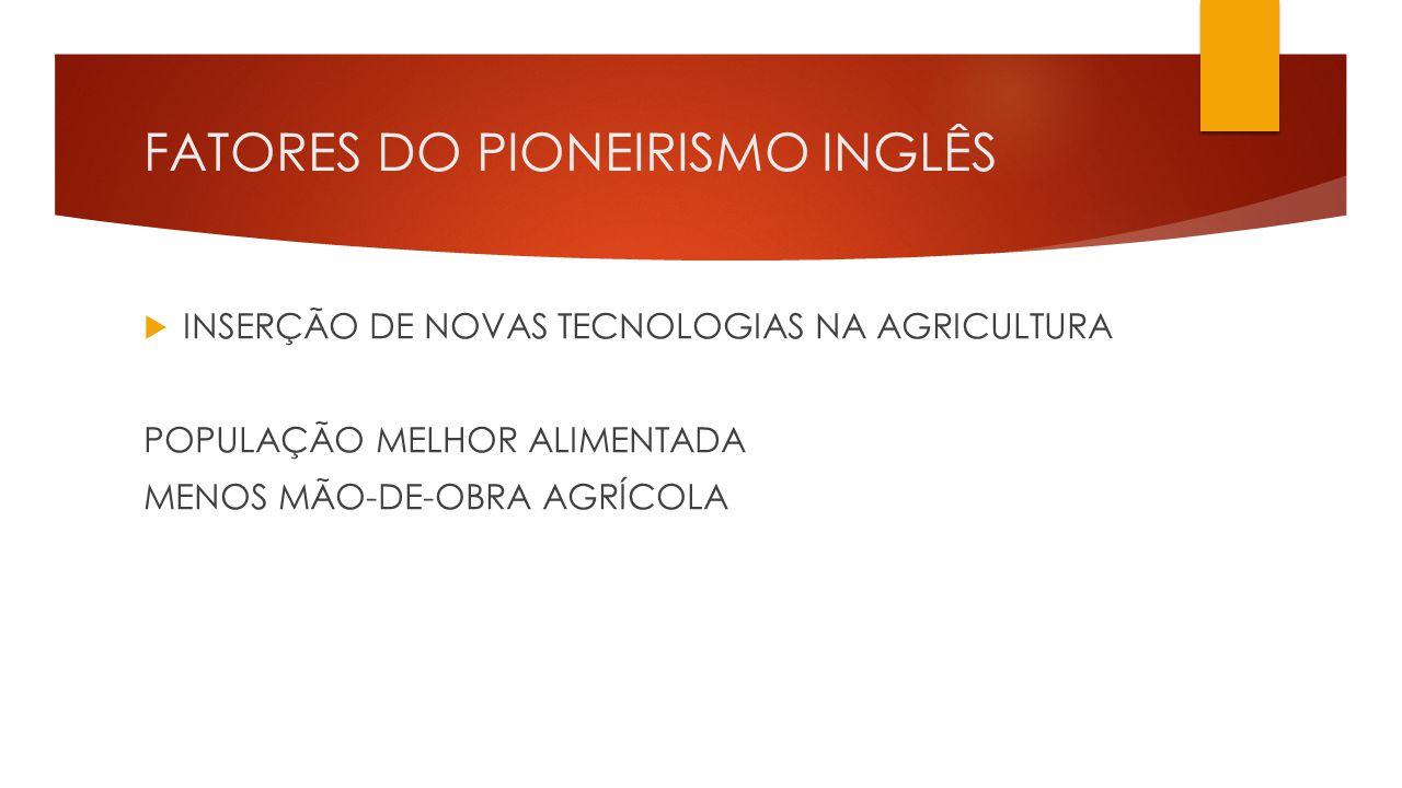FATORES DO PIONEIRISMO INGLÊS  INSERÇÃO DE NOVAS TECNOLOGIAS NA AGRICULTURA POPULAÇÃO MELHOR ALIMENTADA MENOS MÃO-DE-OBRA AGRÍCOLA