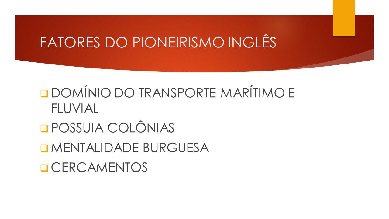 FATORES DO PIONEIRISMO INGLÊS  DOMÍNIO DO TRANSPORTE MARÍTIMO E FLUVIAL  POSSUIA COLÔNIAS  MENTALIDADE BURGUESA  CERCAMENTOS