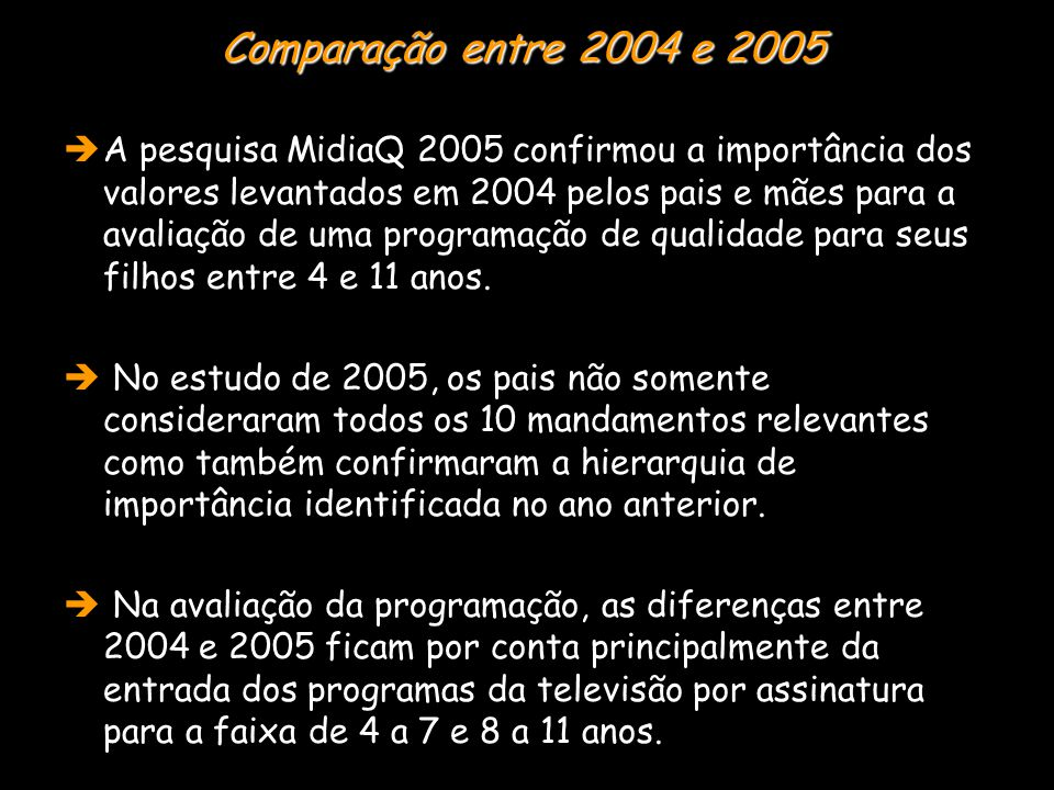  A pesquisa MidiaQ 2005 confirmou a importância dos valores levantados em 2004 pelos pais e mães para a avaliação de uma programação de qualidade para seus filhos entre 4 e 11 anos.