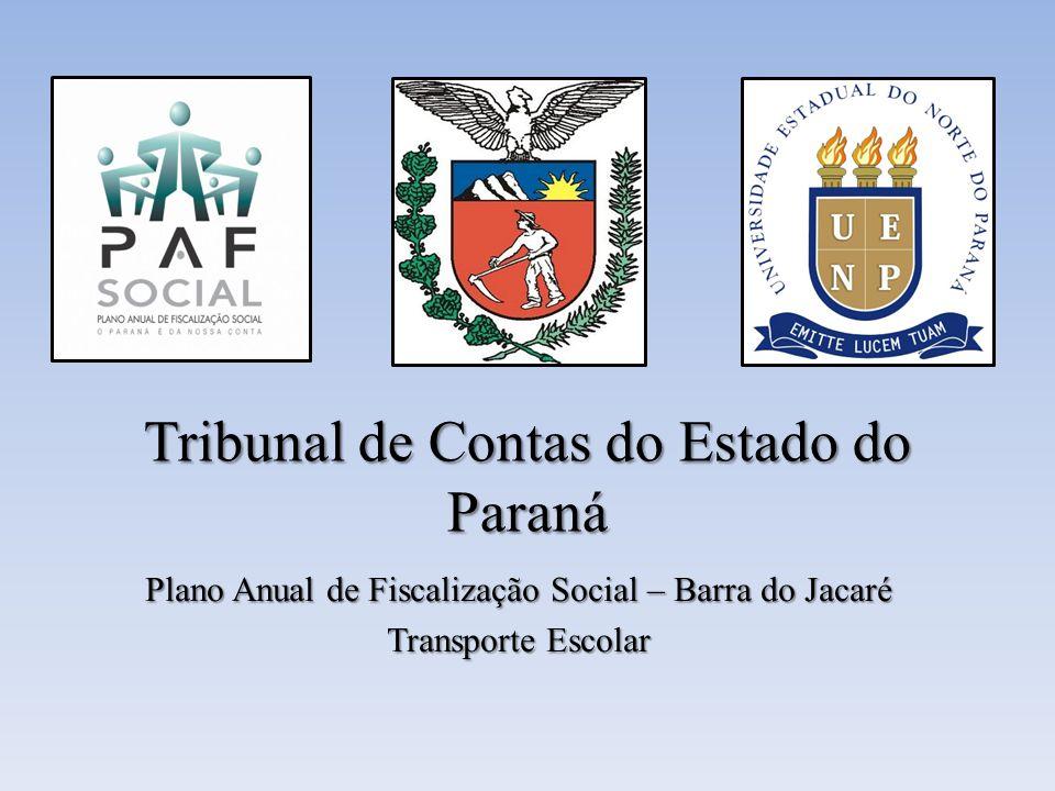 Tribunal de Contas do Estado do Paraná Plano Anual de Fiscalização Social – Barra do Jacaré Transporte Escolar