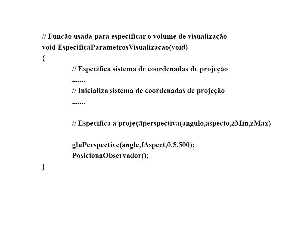 // Função callback chamada quando o tamanho da janela é alterado void AlteraTamanhoJanela(GLsizei w, GLsizei h) { // Para previnir uma divisão por zero if ( h == 0 ) h = 1; // Especifica as dimensões da viewport glViewport(0, 0, w, h); // Calcula a correção de aspecto fAspect = (GLfloat)w/(GLfloat)h; EspecificaParametrosVisualizacao(); }