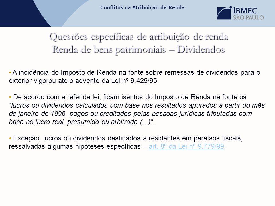 Conflitos na Atribuição de Renda Questões específicas de atribuição de renda Renda de bens patrimoniais – Dividendos • A incidência do Imposto de Rend