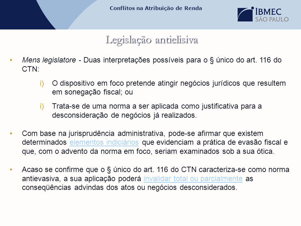 Conflitos na Atribuição de Renda Legislação antielisiva •Mens legislatore - Duas interpretações possíveis para o § único do art. 116 do CTN: i)O dispo