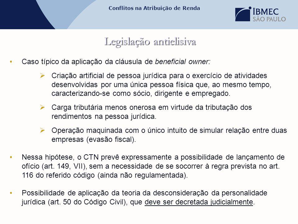 Conflitos na Atribuição de Renda Legislação antielisiva •Caso típico da aplicação da cláusula de beneficial owner:  Criação artificial de pessoa jurí
