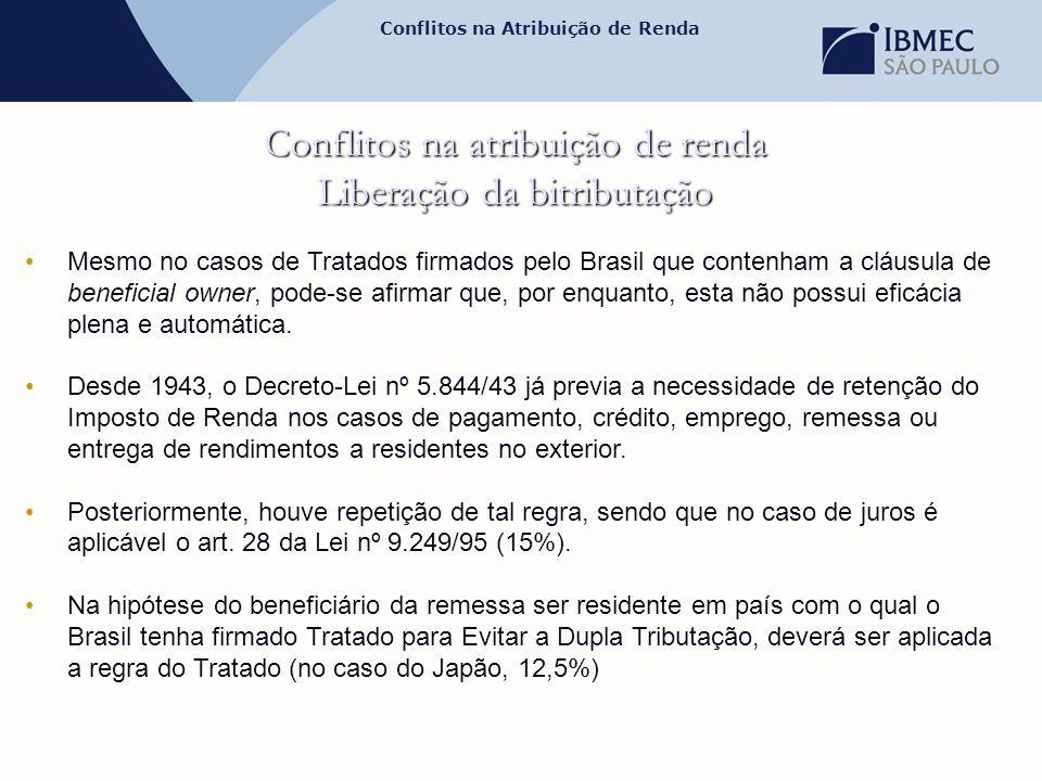 Conflitos na Atribuição de Renda Conflitos na atribuição de renda Liberação da bitributação •Mesmo no casos de Tratados firmados pelo Brasil que conte
