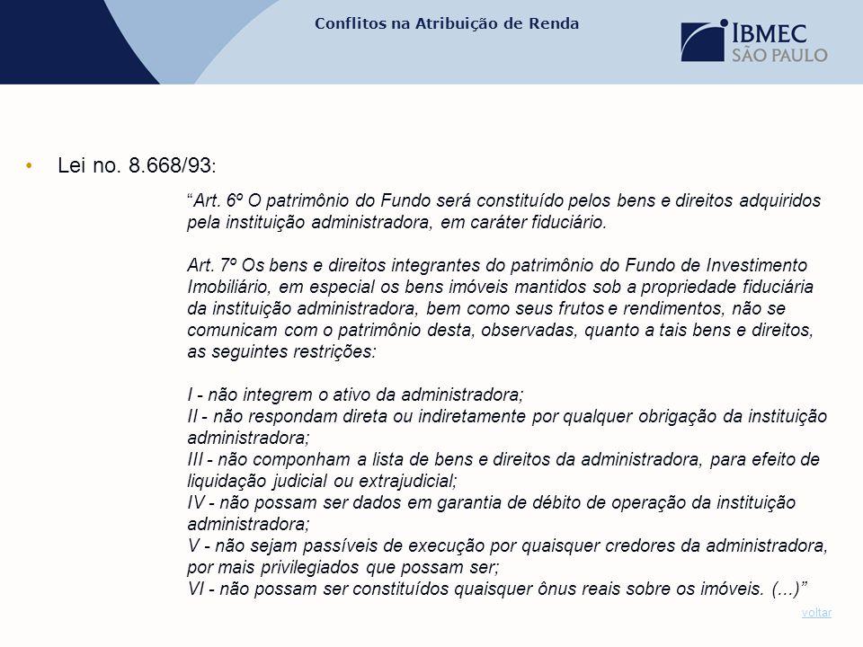 """Conflitos na Atribuição de Renda •Lei no. 8.668/93 : """"Art. 6º O patrimônio do Fundo será constituído pelos bens e direitos adquiridos pela instituição"""