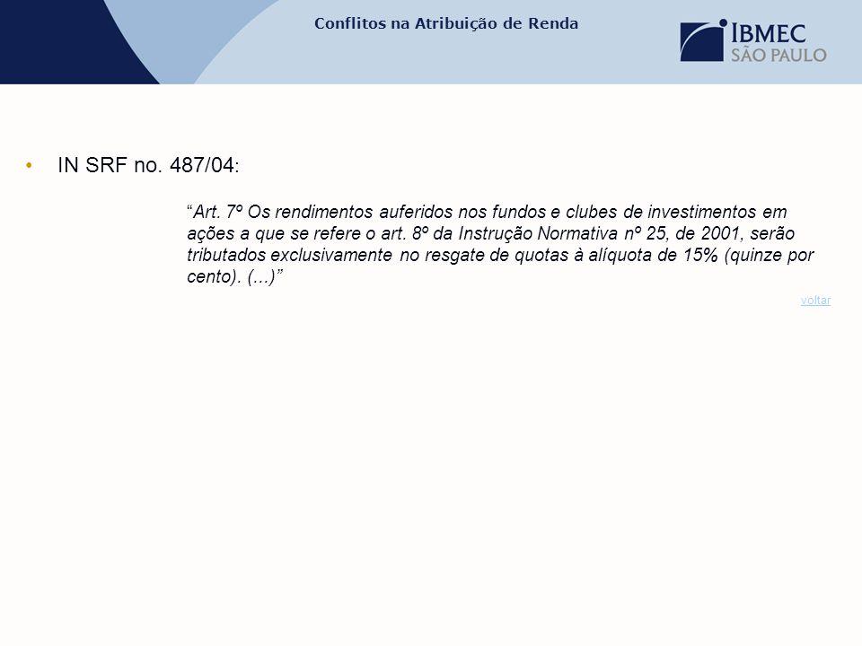 """Conflitos na Atribuição de Renda •IN SRF no. 487/04 : """"Art. 7º Os rendimentos auferidos nos fundos e clubes de investimentos em ações a que se refere"""