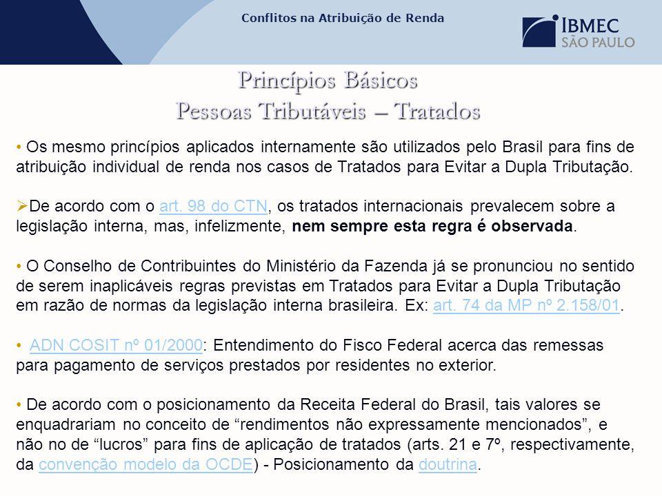 Conflitos na Atribuição de Renda Princípios Básicos Pessoas Tributáveis – Tratados • Os mesmo princípios aplicados internamente são utilizados pelo Br