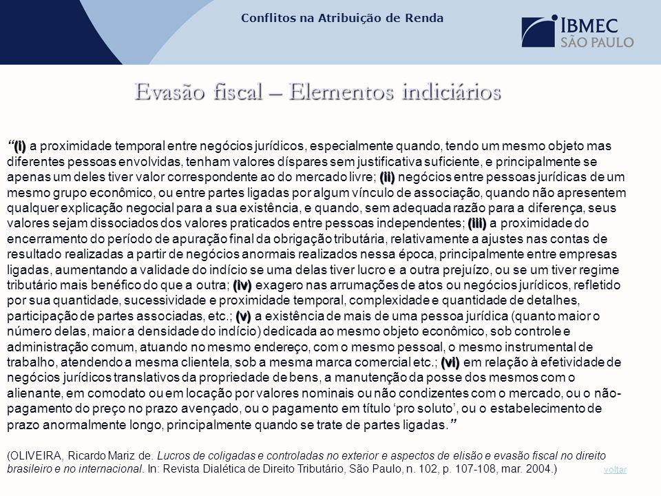 """Conflitos na Atribuição de Renda Evasão fiscal – Elementos indiciários (i) (ii) (iii) (iv) (v) (vi) """" (i) a proximidade temporal entre negócios jurídi"""