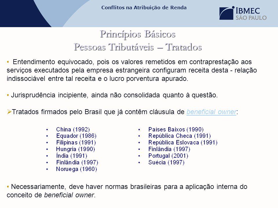 Conflitos na Atribuição de Renda Princípios Básicos Pessoas Tributáveis – Tratados • Entendimento equivocado, pois os valores remetidos em contraprest
