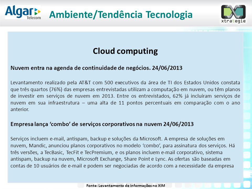 Cloud computing Nuvem entra na agenda de continuidade de negócios. 24/06/2013 Levantamento realizado pela AT&T com 500 executivos da área de TI dos Es