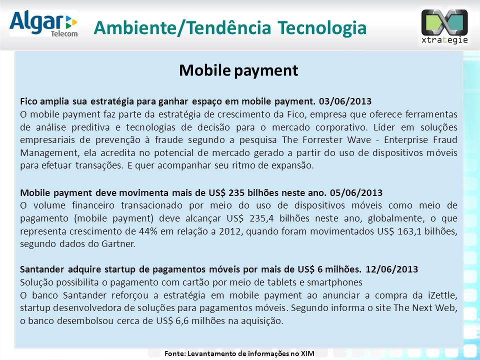 Mobile payment Fico amplia sua estratégia para ganhar espaço em mobile payment. 03/06/2013 O mobile payment faz parte da estratégia de crescimento da