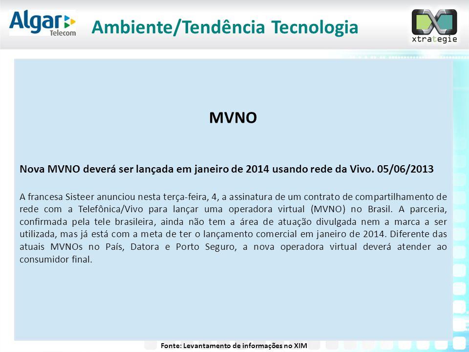 MVNO Nova MVNO deverá ser lançada em janeiro de 2014 usando rede da Vivo. 05/06/2013 A francesa Sisteer anunciou nesta terça-feira, 4, a assinatura de