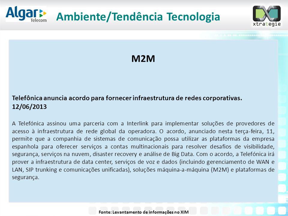 M2M Telefônica anuncia acordo para fornecer infraestrutura de redes corporativas. 12/06/2013 A Telefónica assinou uma parceria com a Interlink para im
