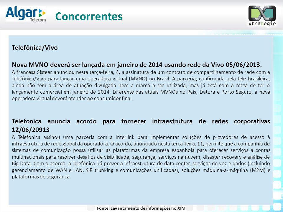 Telefônica/Vivo Nova MVNO deverá ser lançada em janeiro de 2014 usando rede da Vivo 05/06/2013. A francesa Sisteer anunciou nesta terça-feira, 4, a as