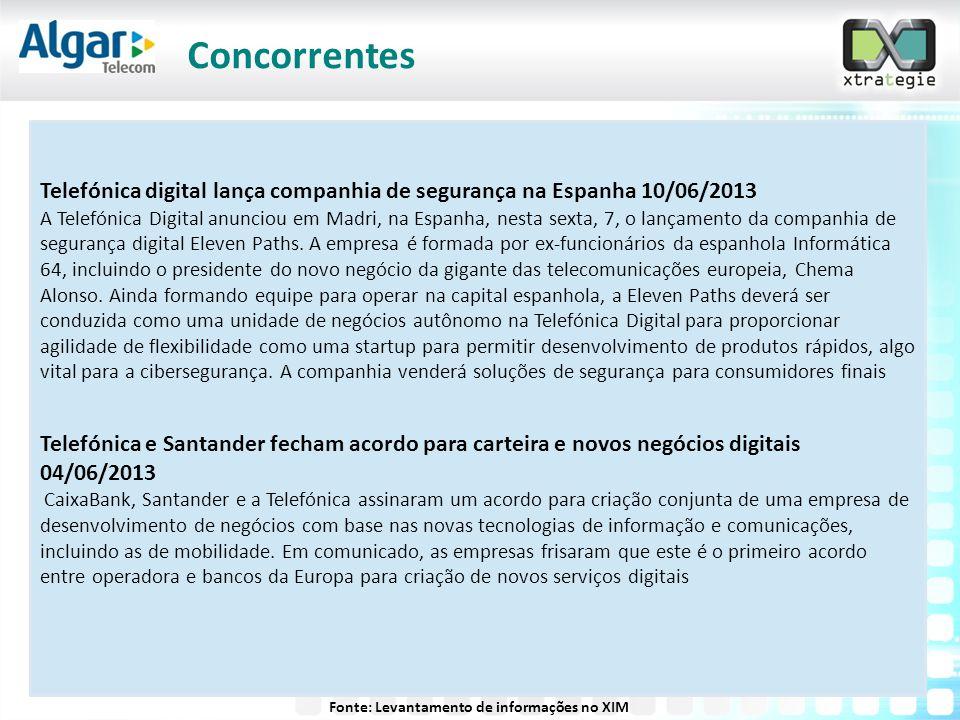 Telefónica digital lança companhia de segurança na Espanha 10/06/2013 A Telefónica Digital anunciou em Madri, na Espanha, nesta sexta, 7, o lançamento