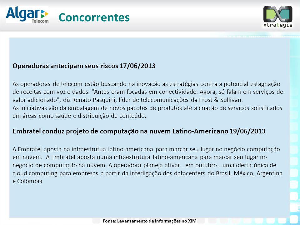 Operadoras antecipam seus riscos 17/06/2013 As operadoras de telecom estão buscando na inovação as estratégias contra a potencial estagnação de receit