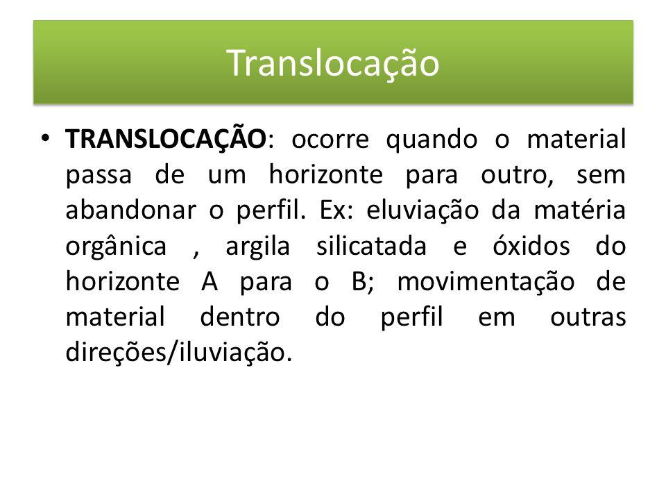 Translocação • TRANSLOCAÇÃO: ocorre quando o material passa de um horizonte para outro, sem abandonar o perfil.