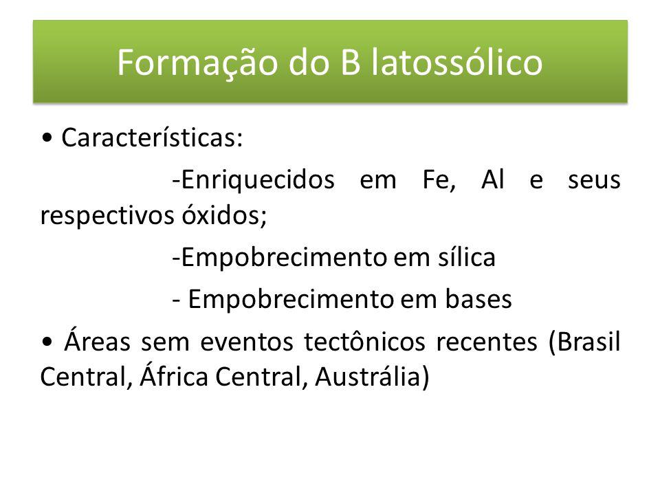 Formação do B latossólico • Características: -Enriquecidos em Fe, Al e seus respectivos óxidos; -Empobrecimento em sílica - Empobrecimento em bases • Áreas sem eventos tectônicos recentes (Brasil Central, África Central, Austrália)