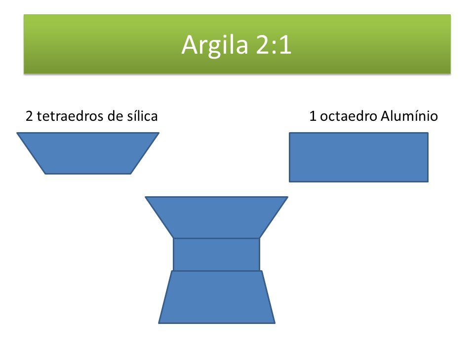 Argila 2:1 2 tetraedros de sílica1 octaedro Alumínio