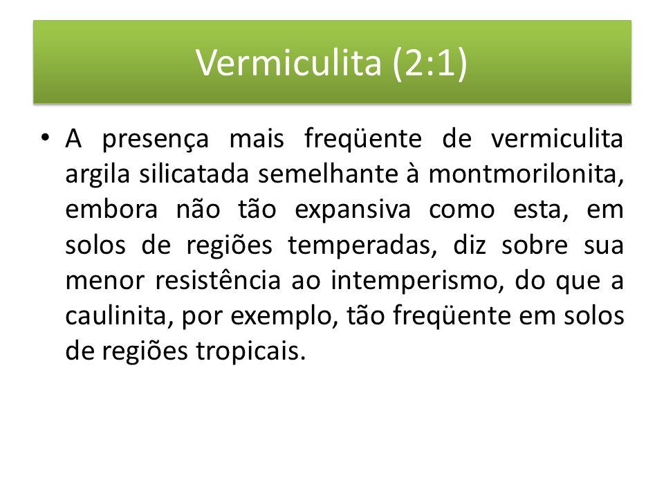 Vermiculita (2:1) • A presença mais freqüente de vermiculita argila silicatada semelhante à montmorilonita, embora não tão expansiva como esta, em solos de regiões temperadas, diz sobre sua menor resistência ao intemperismo, do que a caulinita, por exemplo, tão freqüente em solos de regiões tropicais.