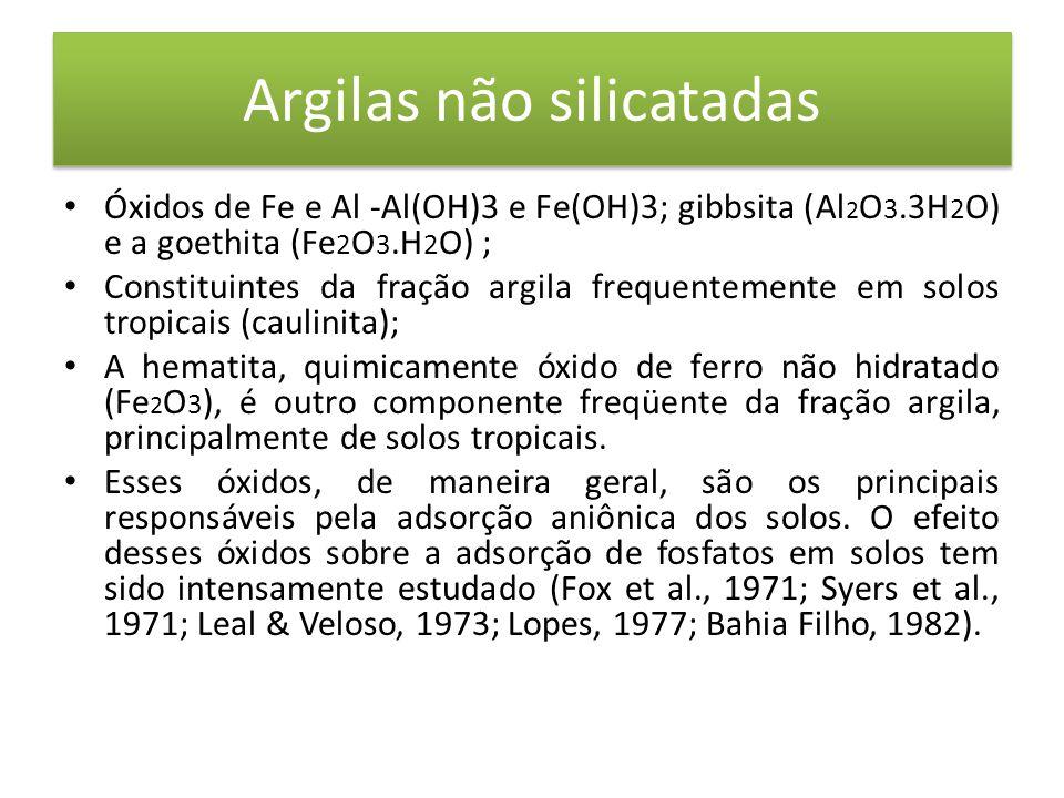 Argilas não silicatadas • Óxidos de Fe e Al -Al(OH)3 e Fe(OH)3; gibbsita (Al 2 O 3.3H 2 O) e a goethita (Fe 2 O 3.H 2 O) ; • Constituintes da fração argila frequentemente em solos tropicais (caulinita); • A hematita, quimicamente óxido de ferro não hidratado (Fe 2 O 3 ), é outro componente freqüente da fração argila, principalmente de solos tropicais.