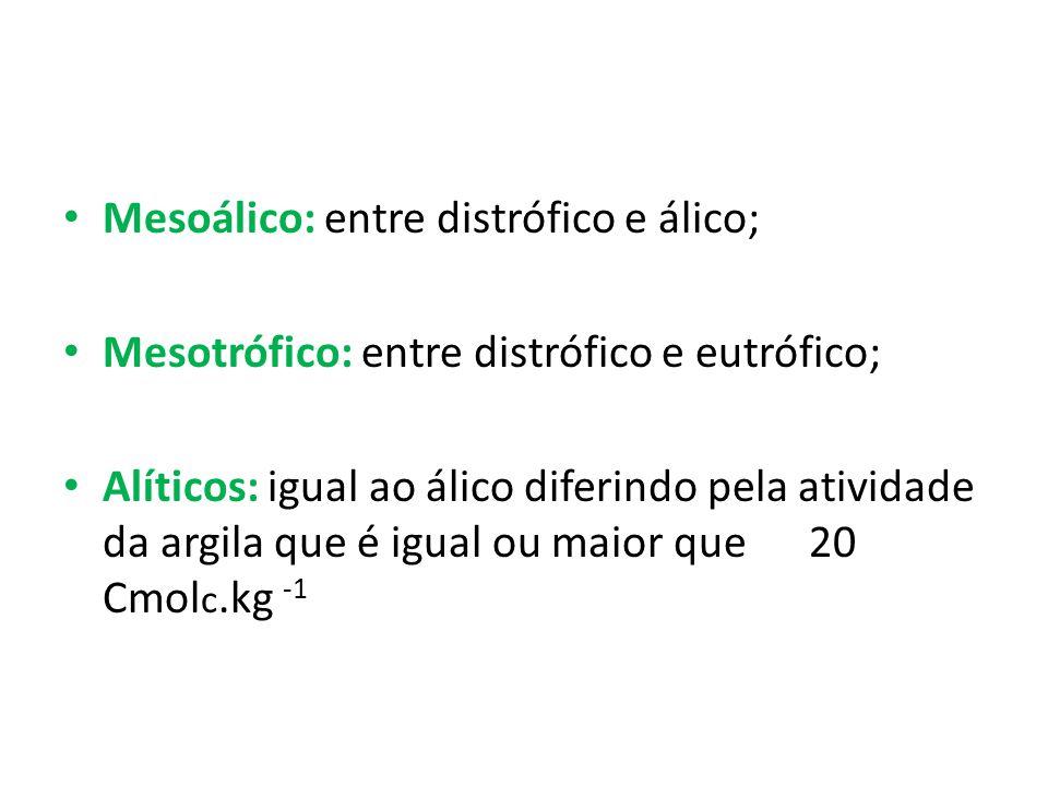 • Mesoálico: entre distrófico e álico; • Mesotrófico: entre distrófico e eutrófico; • Alíticos: igual ao álico diferindo pela atividade da argila que é igual ou maior que 20 Cmol c.kg -1