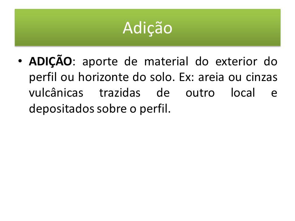 • ADIÇÃO: aporte de material do exterior do perfil ou horizonte do solo.