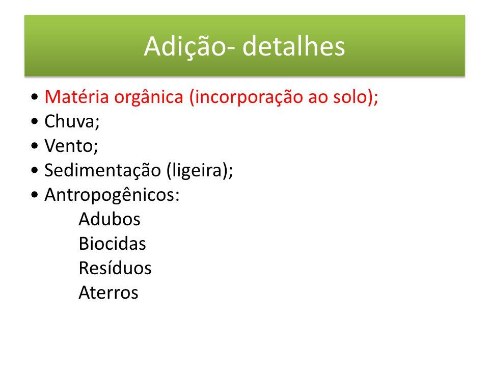 Adição- detalhes • Matéria orgânica (incorporação ao solo); • Chuva; • Vento; • Sedimentação (ligeira); • Antropogênicos: Adubos Biocidas Resíduos Aterros