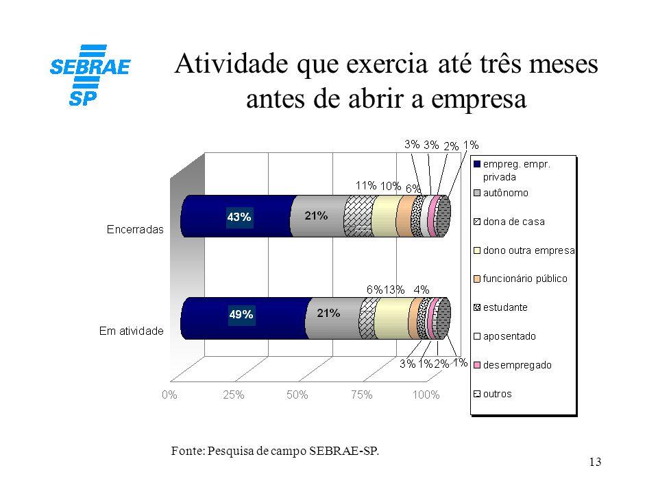 13 Atividade que exercia até três meses antes de abrir a empresa Fonte: Pesquisa de campo SEBRAE-SP.