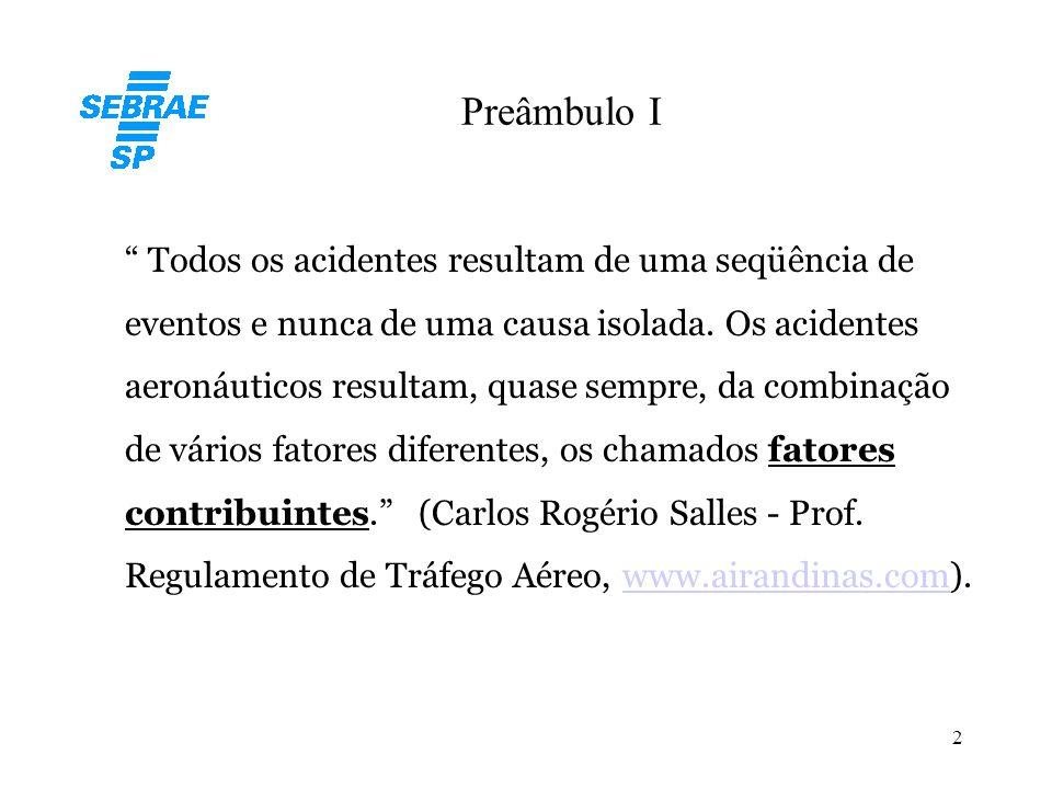 """2 Preâmbulo I """" Todos os acidentes resultam de uma seqüência de eventos e nunca de uma causa isolada. Os acidentes aeronáuticos resultam, quase sempre"""