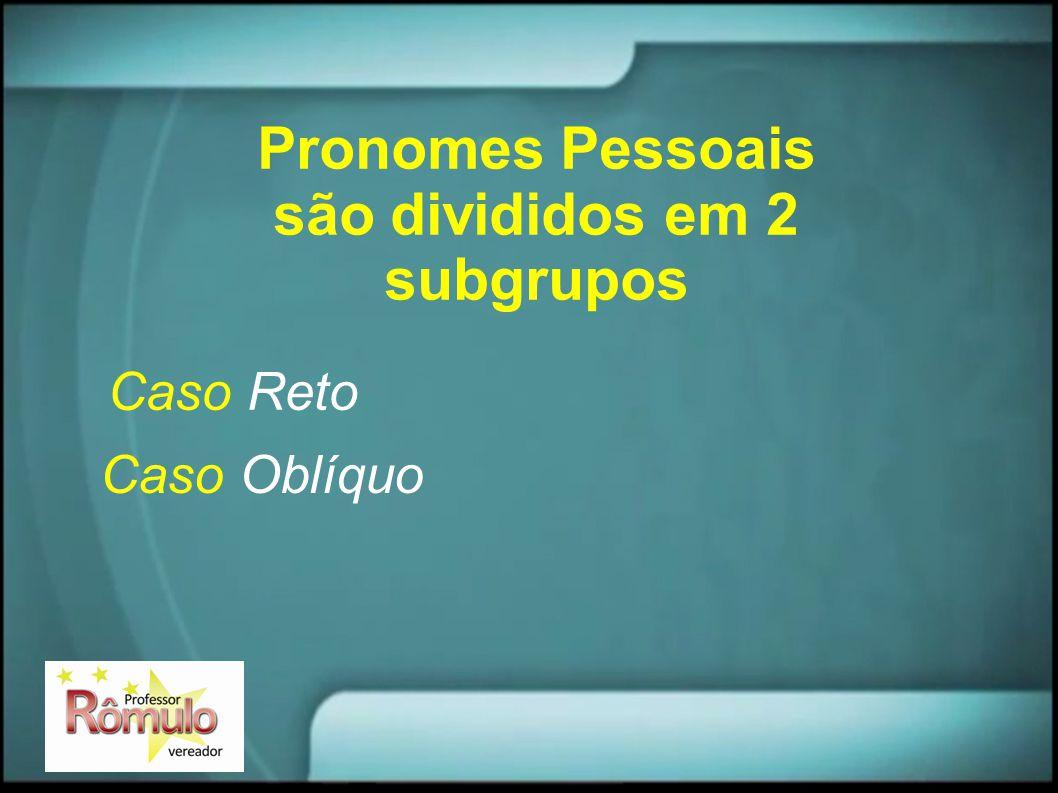 Pronomes Pessoais são divididos em 2 subgrupos Caso Reto Caso Oblíquo