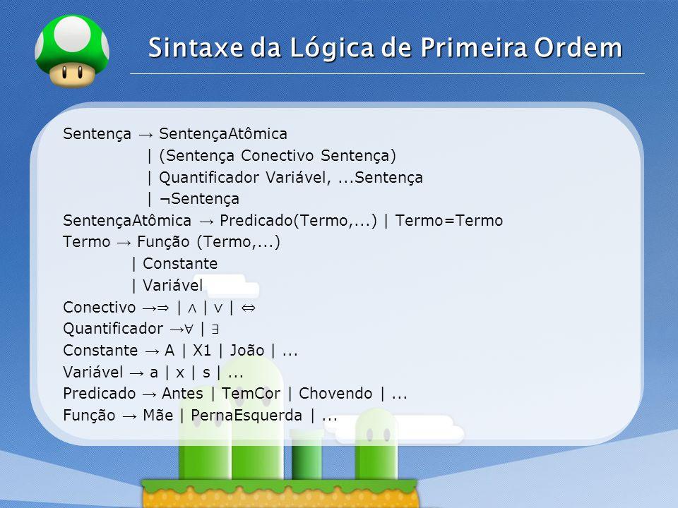 LOGO Sintaxe da Lógica de Primeira Ordem Sentenças atômicas são formadas a partir de um símbolo de predicado seguido por uma lista de termos entre parênteses.