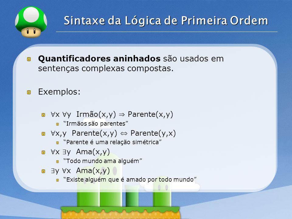 LOGO Sintaxe da Lógica de Primeira Ordem Os quantificadores ( ∀, ∃ ) estão conectados um ao outro por meio de negação.