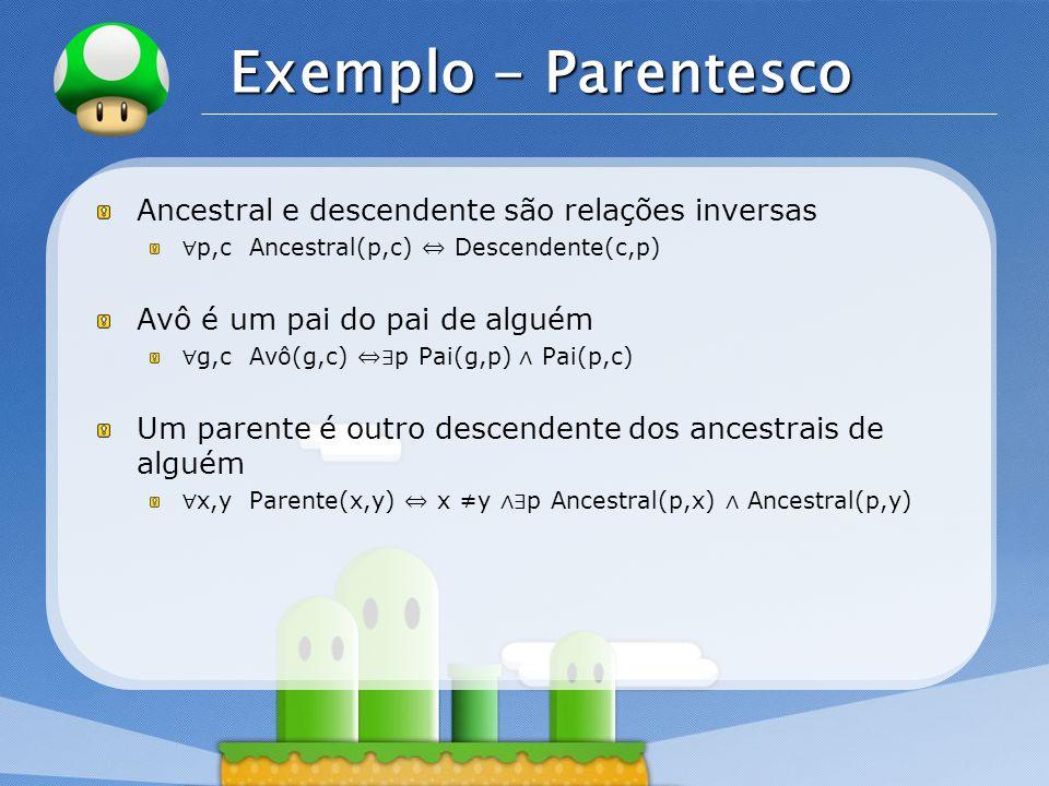 LOGO Exemplo - Wumpus Estrutura da Base de Conhecimento: São armazenadas as setenças representando as percepções do agente e a hora em que elas ocorreram.