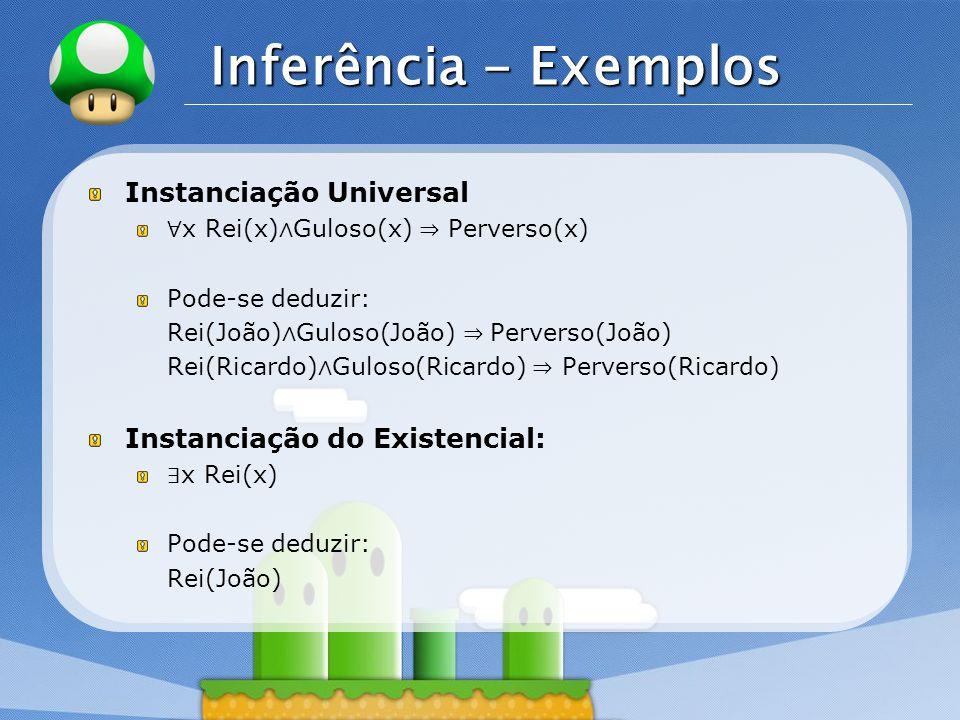 LOGO Inferência - Exemplos Instanciação Universal ∀ x Rei(x) ∧ Guloso(x) ⇒ Perverso(x) Pode-se deduzir: Rei(João) ∧ Guloso(João) ⇒ Perverso(João) Rei(Ricardo) ∧ Guloso(Ricardo) ⇒ Perverso(Ricardo) Instanciação do Existencial: ∃ x Rei(x) Pode-se deduzir: Rei(João)